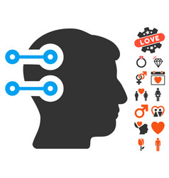 Head connectors icon with love bonus vector