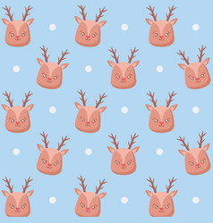 head of cute reindeer christmas pattern vector image