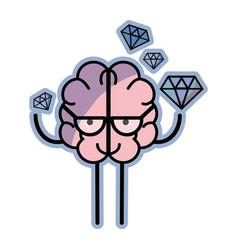 icon adorable kawaii brain with a lot of diamond vector image
