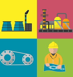 Industry Factory Flat Icon Set vector image