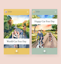 instagram template with world car free day vector image