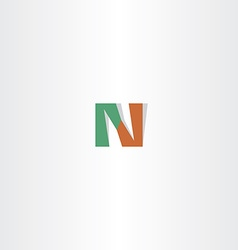 letter n green brown logo icon logotype vector image