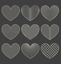 Linear minimalistic art deco heart set vector