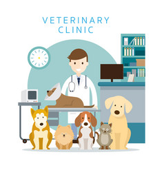 male veterinarian with pets vector image