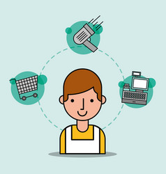 man cartoon salesman supermarket worker shopping vector image