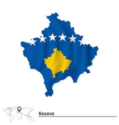 Map of Kosovo with flag vector