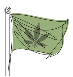 marijuana leaf flag one continuous line icon vector image