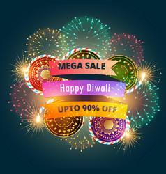mega diwali sale banner poster with fireworks vector image