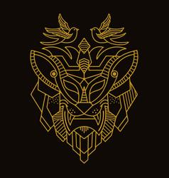 Mono line gold beast vector