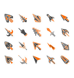 mouse cursor simple color flat icons set vector image