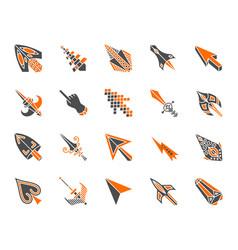 Mouse cursor simple color flat icons set vector