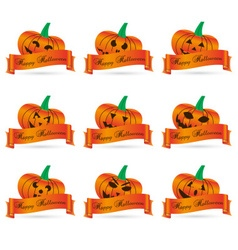orange halloween carved pumpkins with banners set vector image