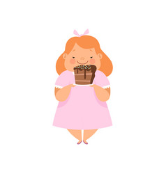 Overweight girl with a piece of chocolate cake vector