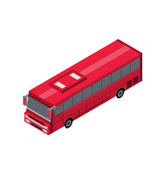 passenger red bus isometric 3d element vector image