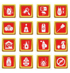 Pest control tools icons set red square vector