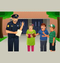 policeman talking to kids vector image