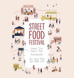 Poster flyer template for summer street food vector