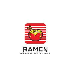 Ramen bowl logo noodle pasta in bowl logo icon vector