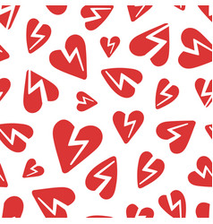 Red broken hearts pattern vector