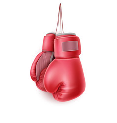 Red pair boxing glove on lace realistic vector