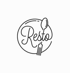 resto simple logo round linear vector image