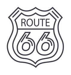 Route 66 sign line icon sign vector