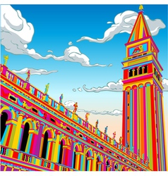 San Marco Tower Bell in Happy Rainbow vector