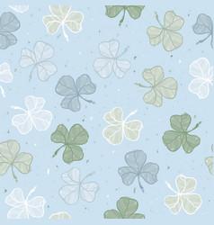 seamless floral pattern leaf clover sketch style vector image