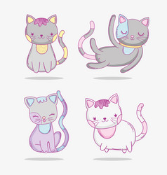 set cute cats pet animals vector image