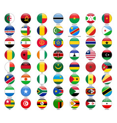 Set of flags of all african countries glossy vector