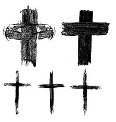 set of hand drawn crosses religious symbols vector image