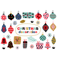 set of isolated christmas decoration vector image