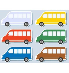 set of isolated minibus vector image