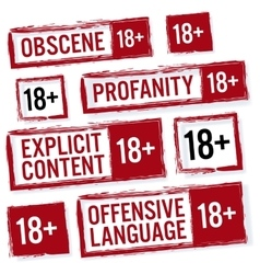 Set Of Red Rectangular Stamps Adults Only 18 vector