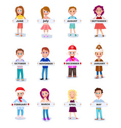 Set people holding months names in hands vector