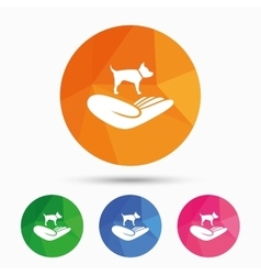Shelter pets sign icon Hand holds dog symbol vector image