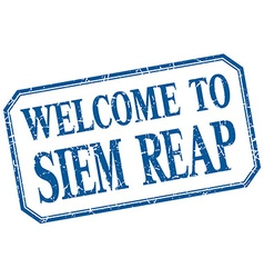 Siem Reap - welcome blue vintage isolated label vector image