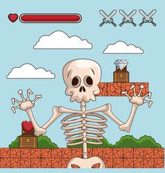 Skull on videogame scenery cartoon vector