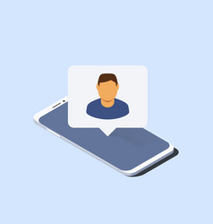 smartphone and push notification with man avatar vector image