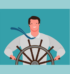 smiling businessman at helm ship vector image