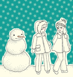 Snowman with children vector