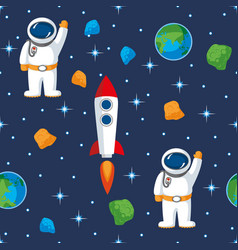 space seamless pattern in flat style vector image