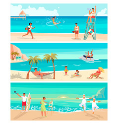 summer beach landscape background vector image