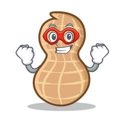 Super hero peanut character cartoon style vector