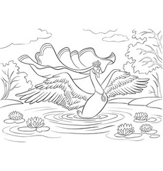 Swan princess with opened wings on a lake with vector