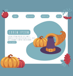 thanksgiving day traditional symbols on greeting vector image