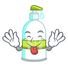 Tongue out liquid soap in the cartoon shape vector
