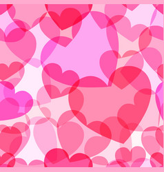 translucent pink heart seamless pattern vector image