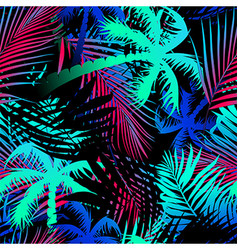 Tropical colored palm leaves seamless pattern vector