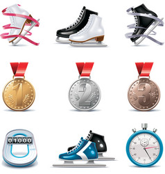 vector ice skating icon set vector image